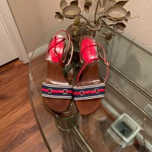 Kate spade red, white, blue wood wedge